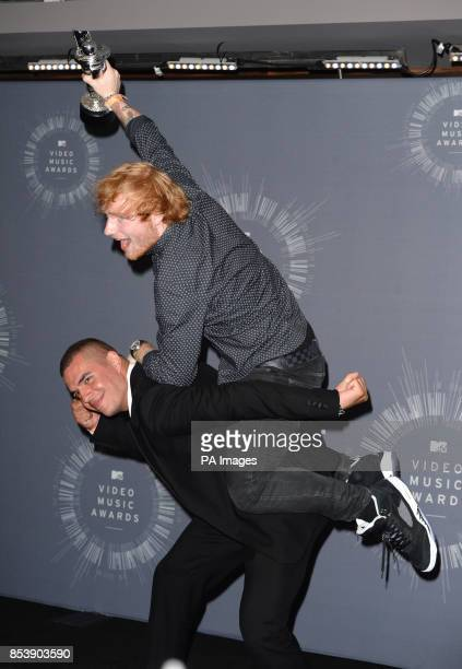 Ed Sheeran and Emil Nava backstage in the MTV Video Music Awards 2014 Press Room at the MTV Video Music Awards 2014 at The Forum in Inglewood Los...