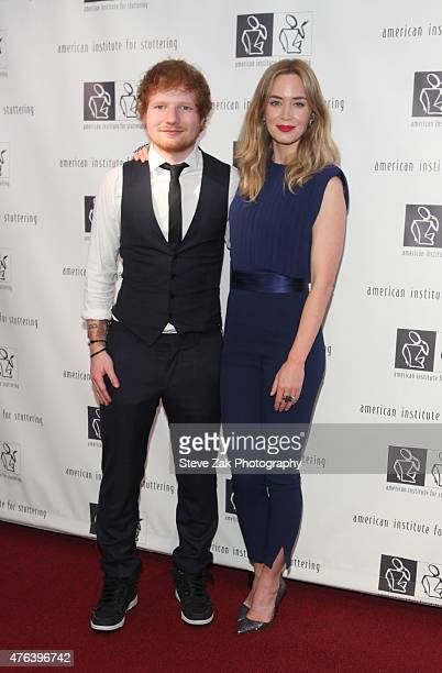 Ed Sheeran and Emily Blunt 9th Annual American Institute For Stuttering Benefit Gala attend at The Lighthouse at Chelsea Piers on June 8 2015 in New...