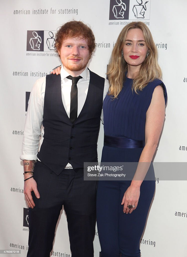 Ed Sheeran and Emily Blunt 9th Annual American Institute For Stuttering Benefit Gala attend at The Lighthouse at Chelsea Piers on June 8, 2015 in New York City.