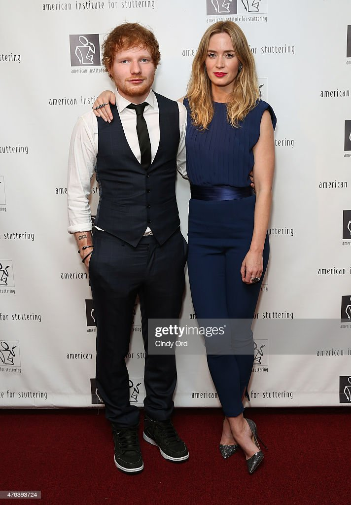 Ed Sheeran (L) and Emily Blunt attend American Institute for Stuttering Freeing Voices Changing Lives 9th Annual Benefit Gala on June 8, 2015 in New York City.