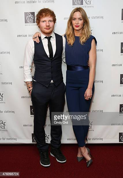 Ed Sheeran and Emily Blunt attend American Institute for Stuttering Freeing Voices Changing Lives 9th Annual Benefit Gala on June 8 2015 in New York...