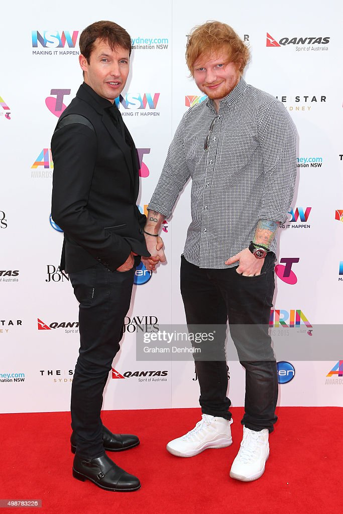 Ed Sheeran and James Blunt arrive for the 29th Annual ARIA Awards 2015 at The Star on November 26, 2015 in Sydney, Australia.