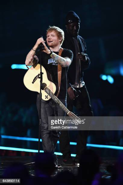 Ed Sheeran and Stormzy perform on stage at The BRIT Awards 2017 at The O2 Arena on February 22 2017 in London England