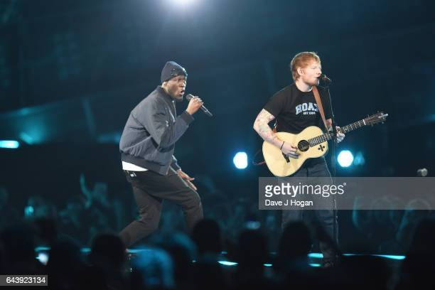 ONLY Ed Sheeran and Stormzy perform on stage at The BRIT Awards 2017 at The O2 Arena on February 22 2017 in London England