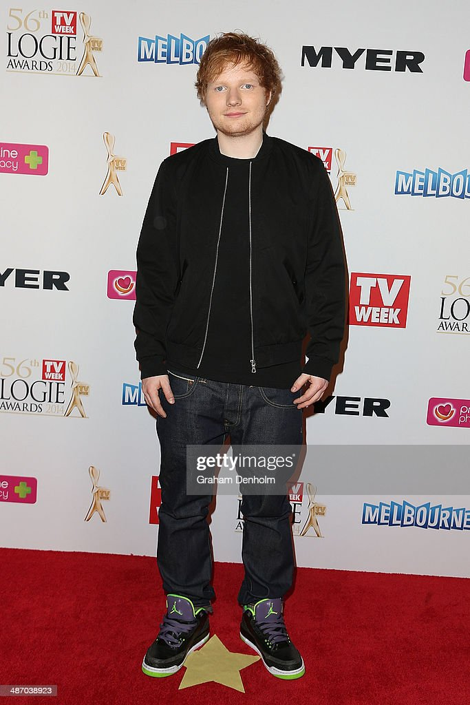 <a gi-track='captionPersonalityLinkClicked' href=/galleries/search?phrase=Ed+Sheeran&family=editorial&specificpeople=7604356 ng-click='$event.stopPropagation()'>Ed Sheeran</a> arrives at the 2014 Logie Awards at Crown Palladium on April 27, 2014 in Melbourne, Australia.