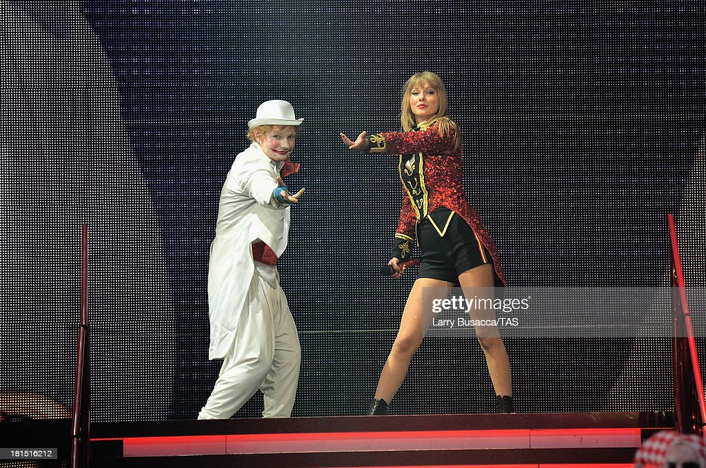 Ed Sheeran made a special surprise appearance onstage during the finale of the North American portion of Taylor Swift's RED tour. The show played to a crowd of more than 14,000 fans on the final night of three sold-out hometown shows at Nashville's Bridgestone Arena on September 21, 2013.