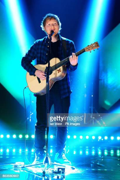 Ed Sheeran performs during the filming of the Graham Norton Show at the BBC Elstree Studios London to be aired on BBC One on Friday evening