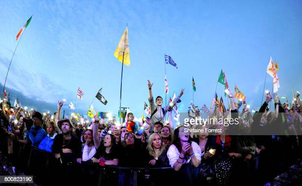 Ed Sheeran performs headlining the Pyramid stage on day 4 of the Glastonbury Festival 2017 at Worthy Farm Pilton on June 25 2017 in Glastonbury...