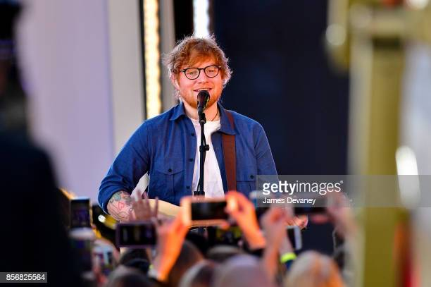 Ed Sheeran performs in Times Square for MTV's 'TRL' on October 2 2017 in New York City