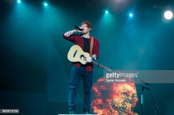 Ed Sheeran performs on day 4 of the Glastonbury Festival 2017 at Worthy Farm Pilton on June 25 2017 in Glastonbury England