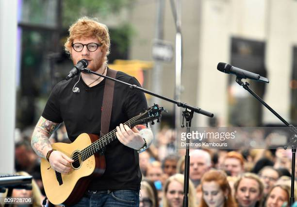 Ed Sheeran performs on NBC's 'Today' at Rockefeller Plaza on July 6 2017 in New York City