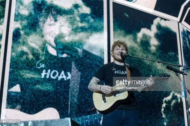 Ed Sheeran performs on stage at American Airlines Arena on August 30 2017 in Miami Florida