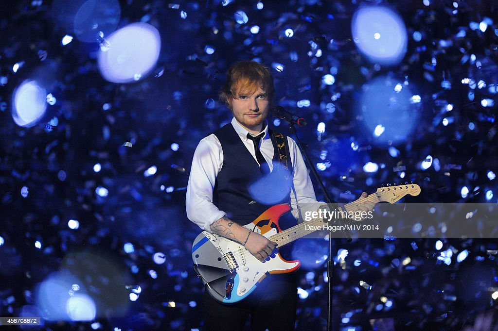 Ed Sheeran performs on stage during the MTV EMA's 2014 at The Hydro on November 9 2014 in Glasgow Scotland