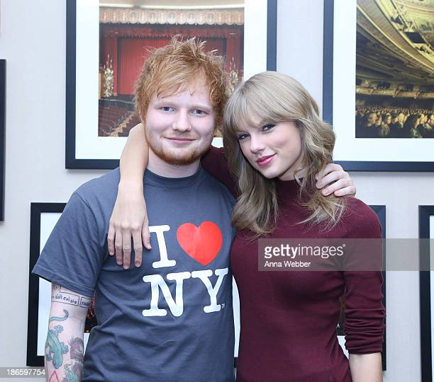 Ed Sheeran poses with Taylor Swift backstage before his soldout show at Madison Square Garden Arena on November 1 2013 in New York City