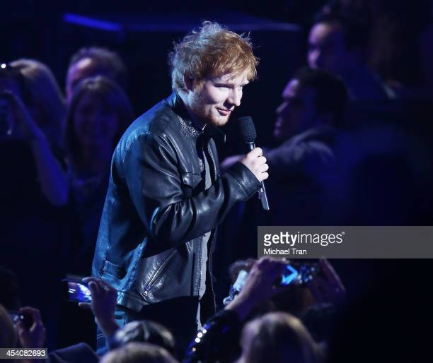 Ed Sheeran speaks at the GRAMMY Nominations Concert Live held at Nokia Theatre LA Live on December 6 2013 in Los Angeles California