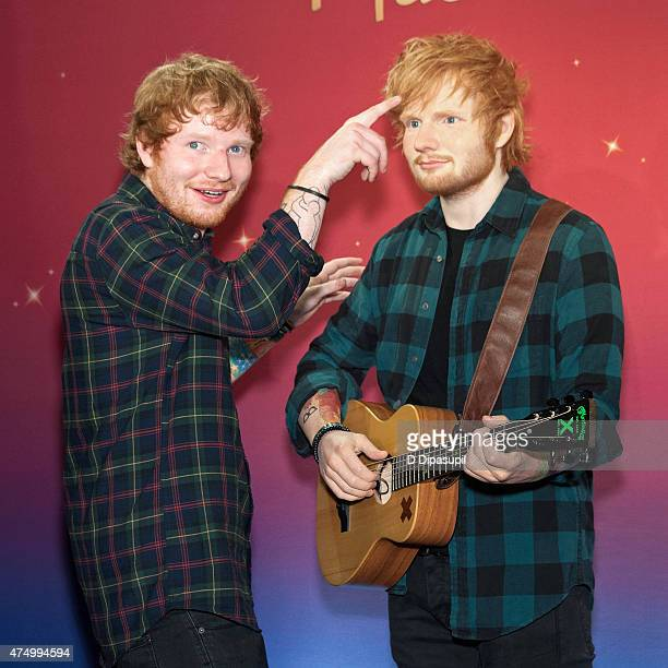 Ed Sheeran unveils a new wax figure at Madame Tussauds on May 28 2015 in New York City
