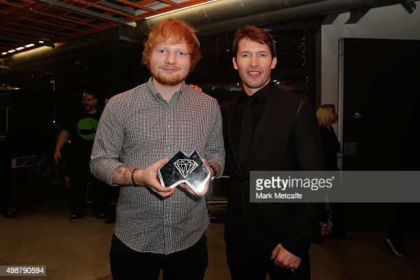 Ed Sheerhan and James Blunt pose for a portrait backstage during the 29th Annual ARIA Awards 2015 at The Star on November 26 2015 in Sydney Australia
