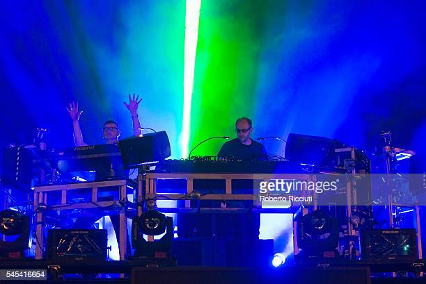 Ed Simons and Tom Rowlands of The Chemical Brothers perform on NOS Stage during NOS Alive '16 Day 1 at at Passeio Martimo De Alge on July 7 2016 in...