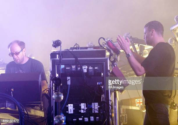 Ed Simons and Tom Rowlands of the Chemical Brothers performs on the main stage at the Eastnor Castle Deer Park in Herefordshire