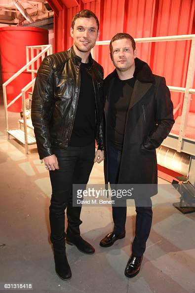 Ed Skrein and Dermot O'Leary attend the Belstaff presentation during London Fashion Week Men's January 2017 collections at Ambika P3 on January 9...