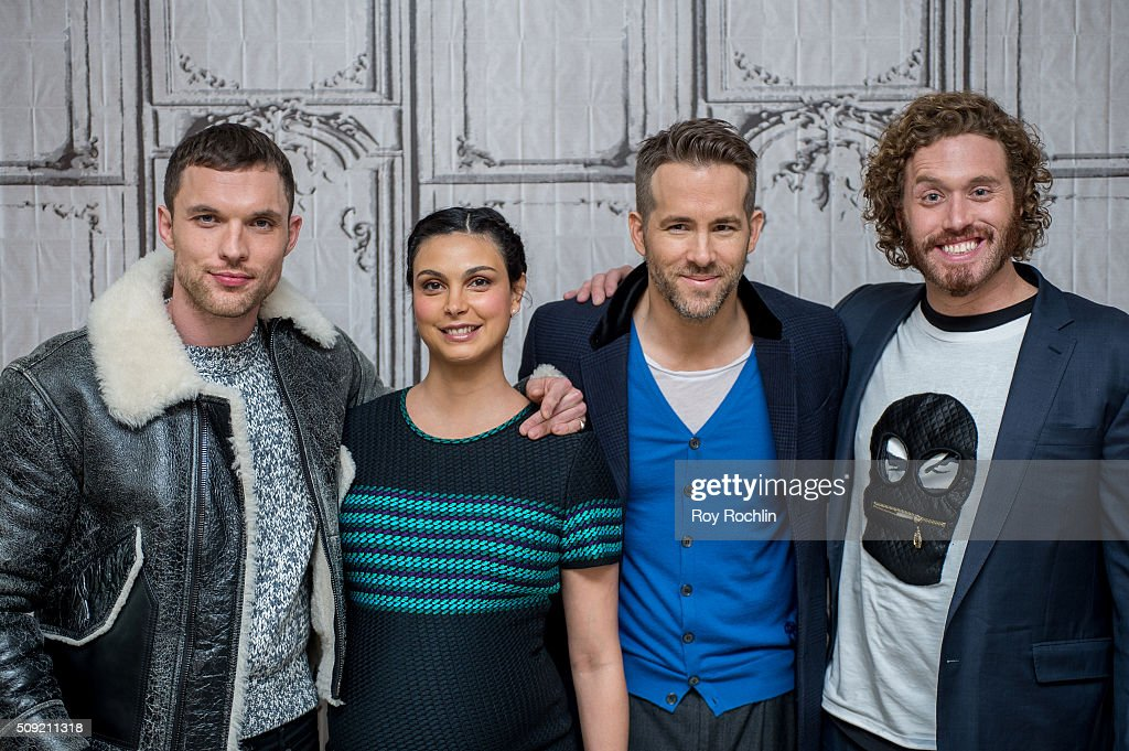 <a gi-track='captionPersonalityLinkClicked' href=/galleries/search?phrase=Ed+Skrein&family=editorial&specificpeople=9443944 ng-click='$event.stopPropagation()'>Ed Skrein</a>, <a gi-track='captionPersonalityLinkClicked' href=/galleries/search?phrase=Morena+Baccarin&family=editorial&specificpeople=812774 ng-click='$event.stopPropagation()'>Morena Baccarin</a>, <a gi-track='captionPersonalityLinkClicked' href=/galleries/search?phrase=Ryan+Reynolds&family=editorial&specificpeople=204149 ng-click='$event.stopPropagation()'>Ryan Reynolds</a> and TJ Miller discuss their new film Deadpool at AOL Studios In New York on February 9, 2016 in New York City.