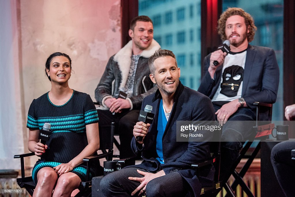 <a gi-track='captionPersonalityLinkClicked' href=/galleries/search?phrase=Ed+Skrein&family=editorial&specificpeople=9443944 ng-click='$event.stopPropagation()'>Ed Skrein</a> (Top right), TJ Miller, <a gi-track='captionPersonalityLinkClicked' href=/galleries/search?phrase=Morena+Baccarin&family=editorial&specificpeople=812774 ng-click='$event.stopPropagation()'>Morena Baccarin</a> and <a gi-track='captionPersonalityLinkClicked' href=/galleries/search?phrase=Ryan+Reynolds&family=editorial&specificpeople=204149 ng-click='$event.stopPropagation()'>Ryan Reynolds</a>, <a gi-track='captionPersonalityLinkClicked' href=/galleries/search?phrase=Morena+Baccarin&family=editorial&specificpeople=812774 ng-click='$event.stopPropagation()'>Morena Baccarin</a> discuss their new film Deadpool at AOL Studios In New York on February 9, 2016 in New York City.