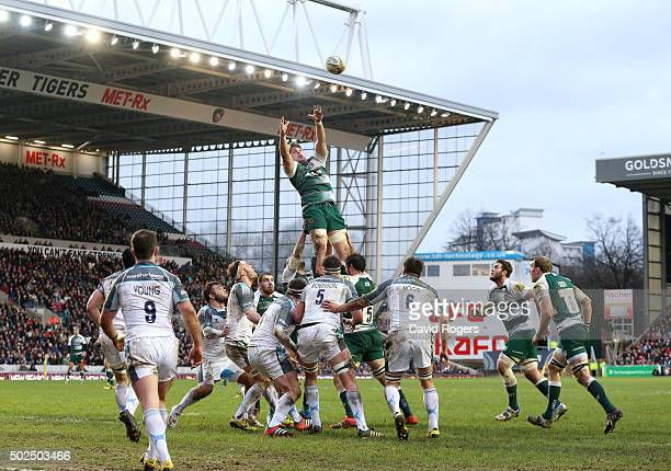 Ed Slater catches the lineout ball during the Aviva Premiership match between Leicester Tigers and Newcastle Falcons at Welford Road on December 26...