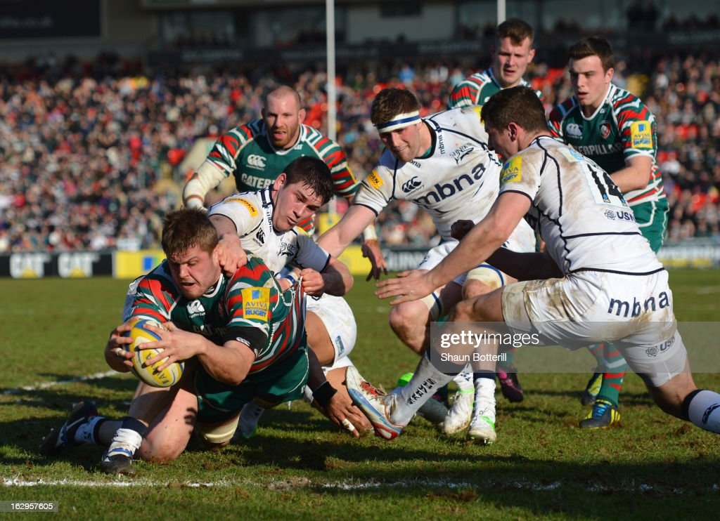 Ed Slater of Leicester Tigers scores a try during the Aviva Premiership match between Leicester Tigers and Sale Sharks at Welford Road on March 2, 2013 in Leicester, England.