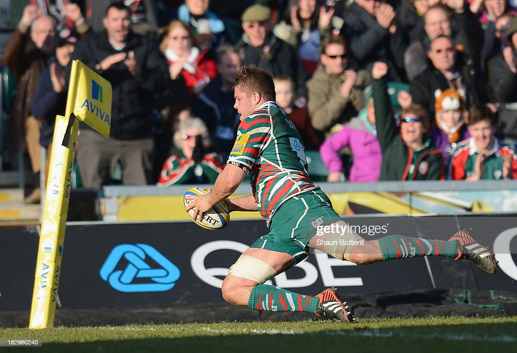 Ed Slater of Leicester Tigers scores his second try during the Aviva Premiership match between Leicester Tigers and Sale Sharks at Welford Road on March 2, 2013 in Leicester, England.