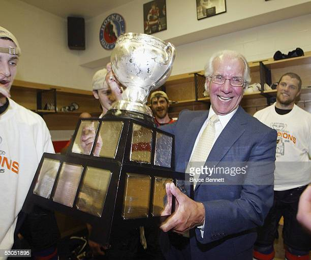 Ed Snider chairman of the Philadelphia Phantoms of the American Hockey League celebrates their 52 Calder Cup win over the Chicago Wolves at the...