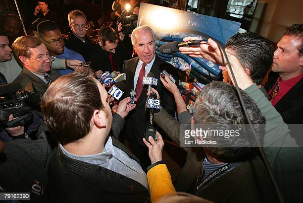 Ed Snider ComcastSpectacor Chairman discusses plans for the new Phila Live Entertainment Center during a press conference prior to the NHL game...