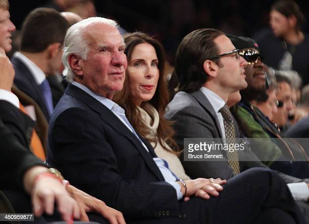 Ed Snider the owner of the Philadelphia Flyers attends the game between the New York Knicks and the Indiana Pacers at Madison Square Garden on...