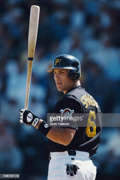 Ed Sprague Jr third baseman for the Pittsburgh Pirates prepares to bat during the Major League Baseball spring training game against the Detroit...