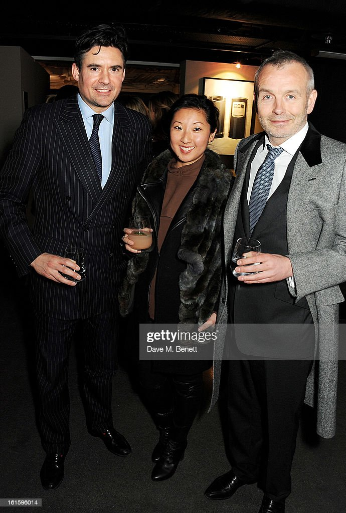 Ed Taylor, Beatrix Ong and Piers Adam attend the launch of the Vertu Ti at the London Film Museum, Covent Garden on February 12, 2013 in London, England.