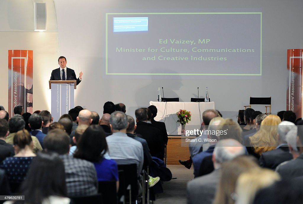 Ed Vaizey, UK Minister for Culture, Communications and Creative Industries, speaks to FDA (Film Distributors Association) members after the Lord Puttnam Keynote Speech at the Royal Academy of Engineering on March 19, 2014 in London, England.
