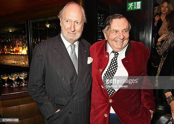 Ed Victor and Barry Humphries attend a reception in honour of 'La La Land' with Damien Chazelle Emma Stone and Justin Hurwitz at The Arts Club on...