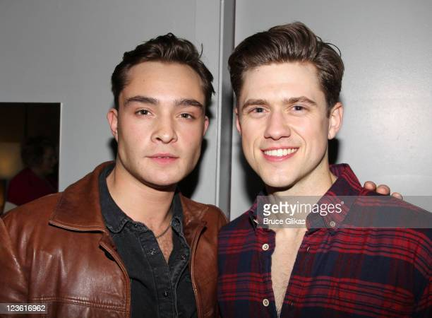 Ed Westwick and Aaron Tveit pose backstage at 'Catch Me If You Can' on Broadway at The Neil Simon Theatre on April 22 2011 in New York New York