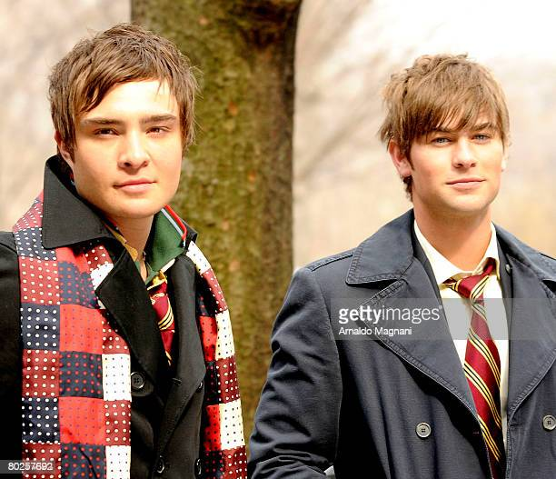 Ed Westwick and Chace Crawford on location during a filming of ''Gossip Girl'' on March 14 2008 in New York City