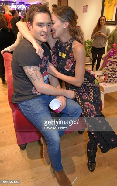 Ed Westwick and Jessica Serfaty attend Nasty Gal UK Pop Up Launch Party on Carnaby Street on November 1 2017 in London England