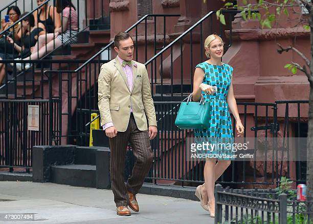 Ed Westwick and Kelly Rutherford are seen on the movie set of 'Gossip Girl' on August 10 2012 in New York City