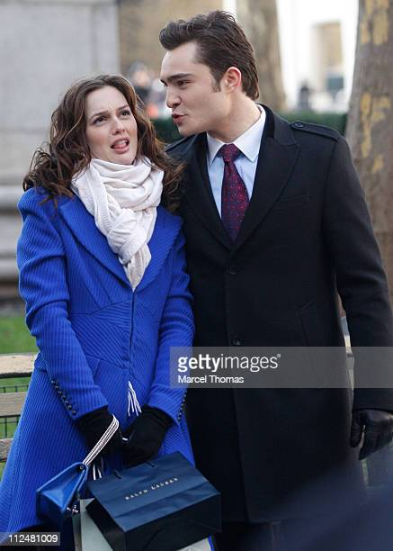 Ed Westwick and Leighton Meester are seen working on the set of the TV show 'Gossip Girls' on location on the streets of Manhattan on December 1 2009...