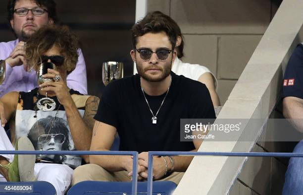 Ed Westwick attends the match between Roger Federer of Switzerland and Gael Monfils of France during Day 11 of the 2014 US Open at USTA Billie Jean...