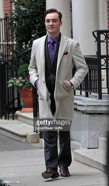 Ed Westwick is seen on the movie set of 'Gossip Girl' on October 02 2012 in New York City