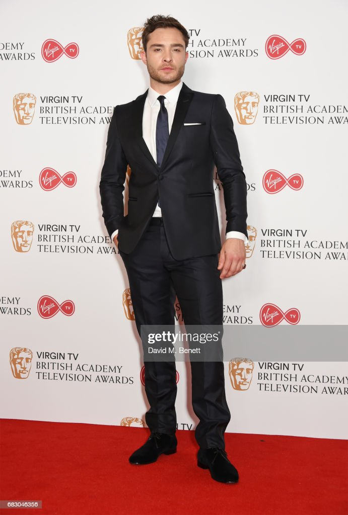 Ed Westwick poses in the Winner's room at the Virgin TV BAFTA Television Awards at The Royal Festival Hall on May 14, 2017 in London, England.