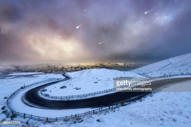 Edale valley snow at sunrise, Derbyshire, UK