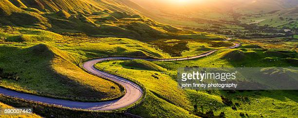 Edale valley twisty road at sunset in Derbyshire, Peak District, England.UK.