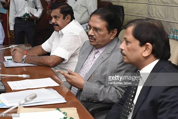 Edappadi K Palanisamy PWD Minister of Tamil Nadu with Tamil Nadu Chief Secretary Dr P Rama Mohana Rao and Principal Secretary of Tamil Nadu during a...