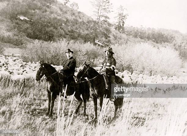 Edd Ladd fullblood Apache Indian of the Jicarilla Reservation New Mexico with Indian Commissioner Cato Sells on horseback 1920