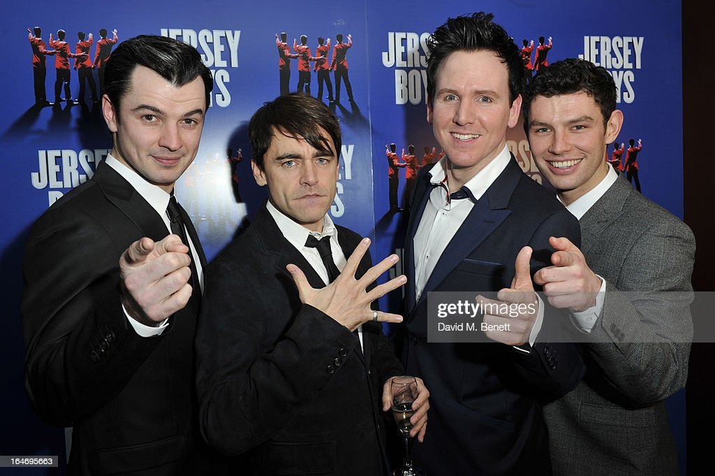 Edd Post, Ryan Molloy, Jon Boydon and David McGranaghan attend the Jersey Boys 5th anniversary performance after party at the Paramount Club on March 26, 2013 in London, England.