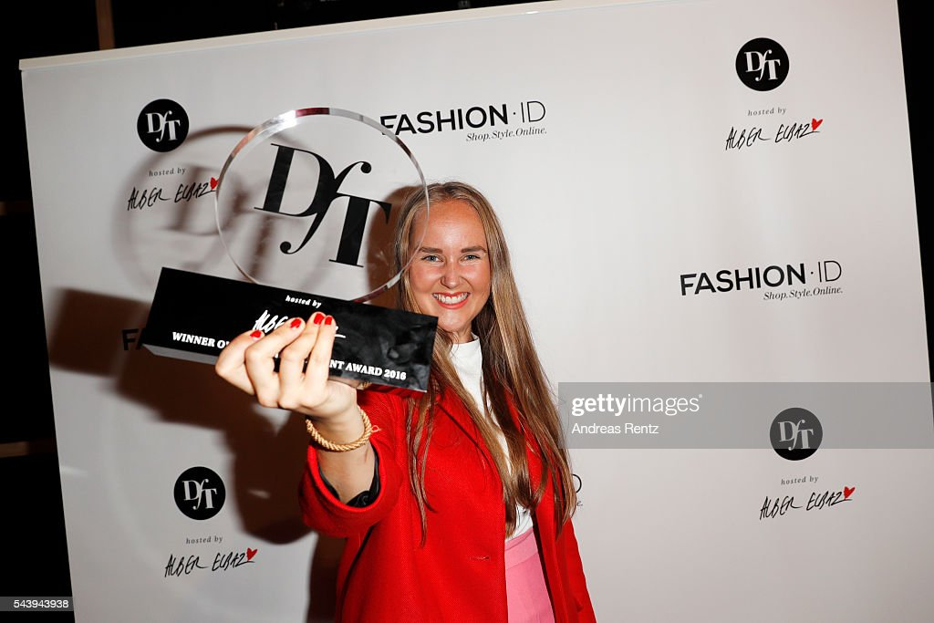 Edda Gimnes, winner of the fashion talent award 'Designer for Tomorrow', at the 'Designer for Tomorrow' show during the Mercedes-Benz Fashion Week Berlin Spring/Summer 2017 at Erika Hess Eisstadion on June 30, 2016 in Berlin, Germany.